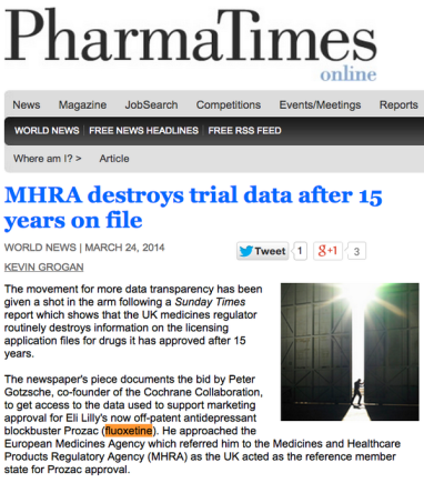 Over half remains hidden (unpublished) and sometimes data has been destroyed (e.g., fluxetine trial).