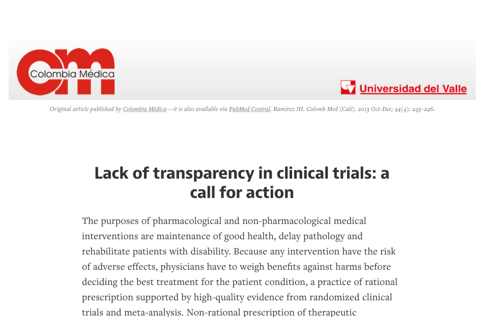 Lack of transparency in clinical trials  a call for action — Medium