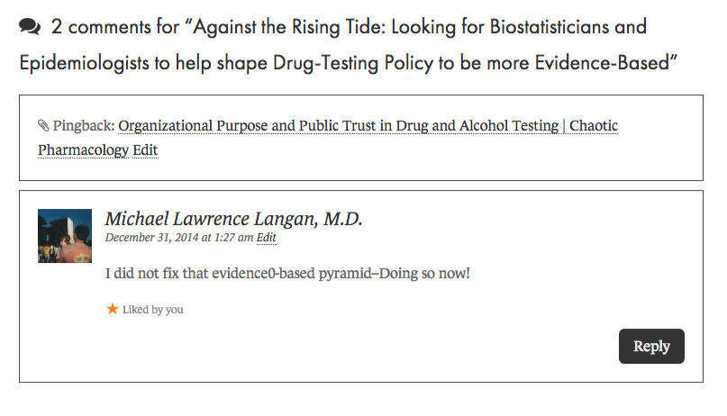 Against the Rising Tide  Looking for Biostatisticians and Epidemiologists to help shape Drug-Testing Policy to be more Evidence-Based   Chaos Theory and Human Pharmacology