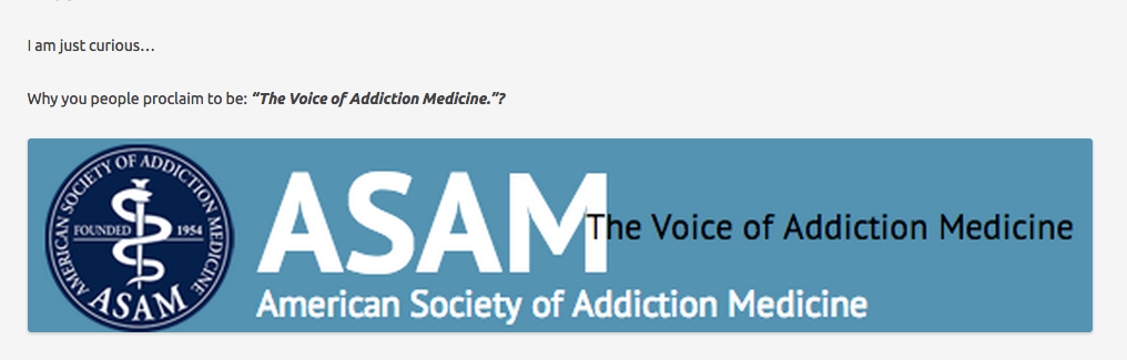 An open question to the American Society of Addiction Medicine  ASAM  ―@ASAMorg   Chaotic Pharmacology