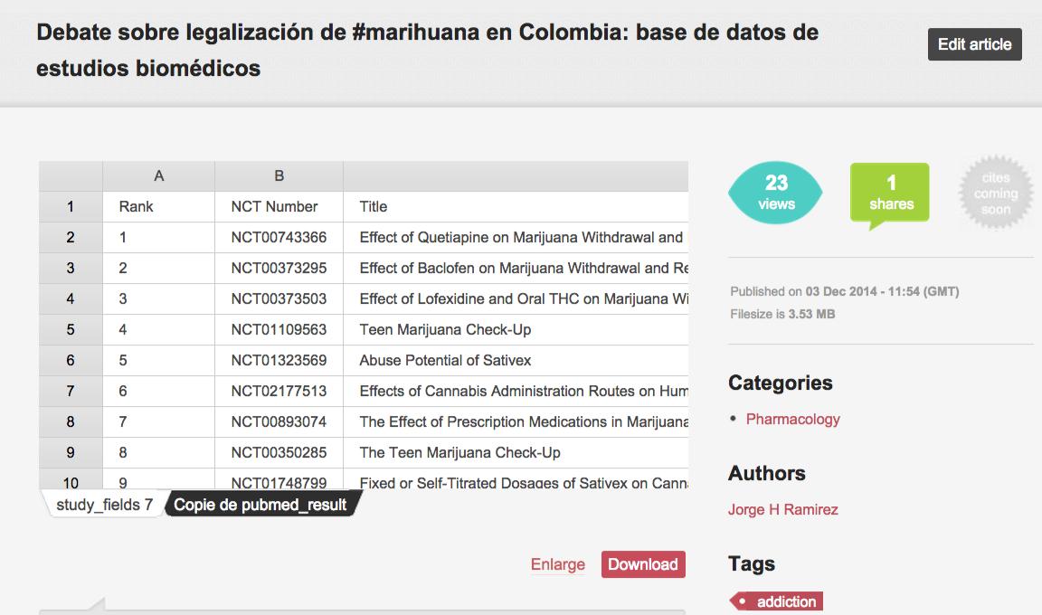 Debate sobre legalización de #marihuana en Colombia  base de datos de estudios biomédicos