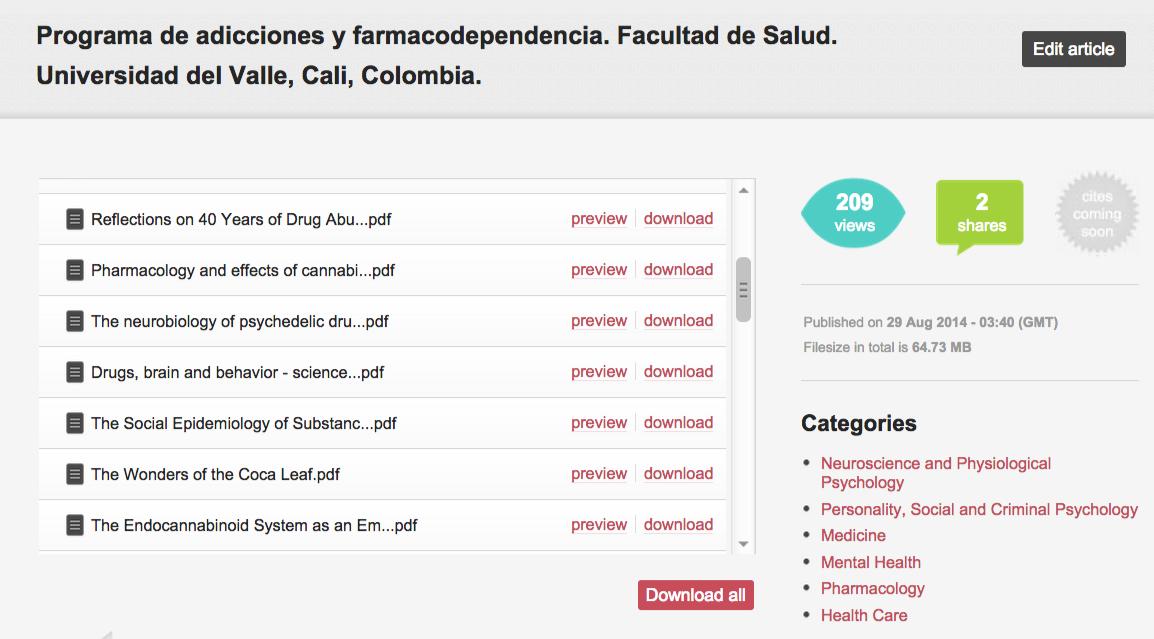 Programa de adicciones y farmacodependencia. Facultad de Salud. Universidad del Valle, Cali, Colombia.