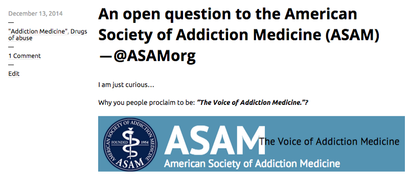 An open question to the American Society of Addiction Medicine  ASAM  ―@ASAMorg   Chaotic Pharmacology (2)
