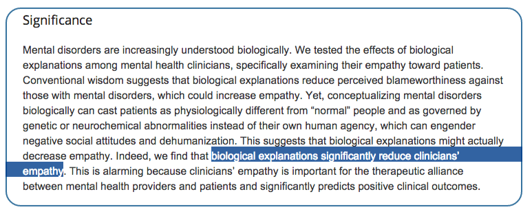 Effects of biological explanations for mental disorders on clinicians' empathy