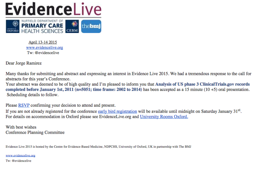Evidence Live 2015 - Abstract Accepted - jorge.h.ramirez00@gmail.com - Gmail (2)