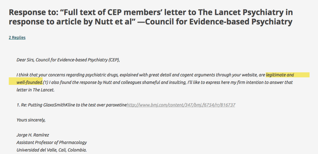 "Response to  ""Full text of CEP members' letter to The Lancet Psychiatry in response to article by Nutt et al"" —Council for Evidence-based Psychiatry   Chaotic Pharmacology"