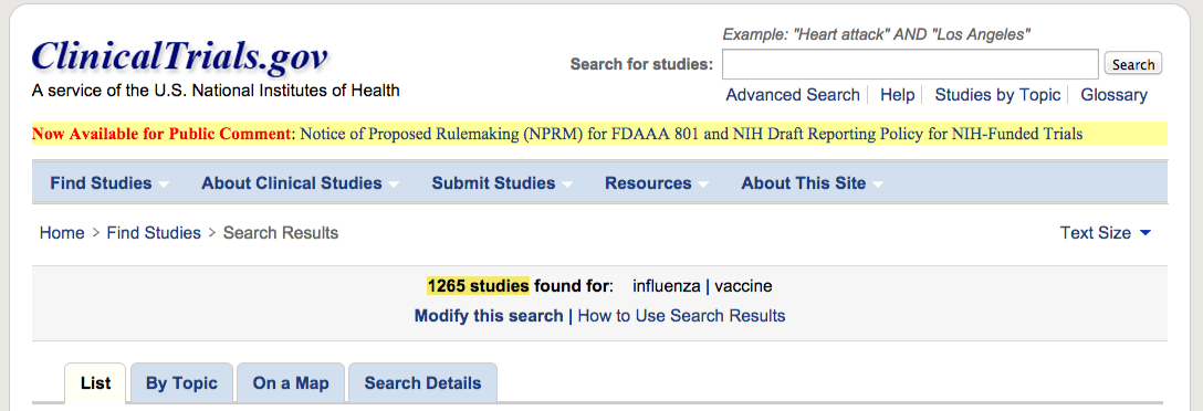 Search of  influenza   vaccine - List Results - ClinicalTrials.gov