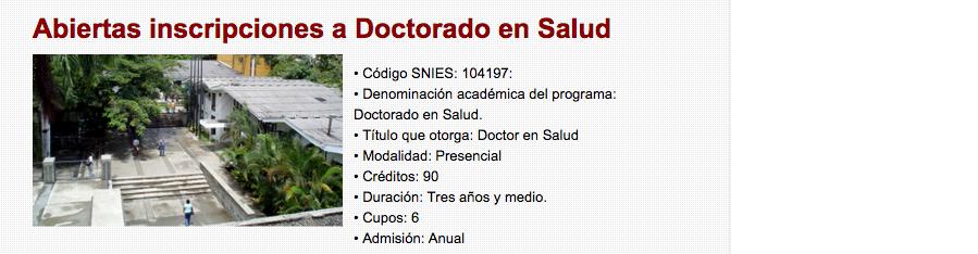 """Re: """"Abiertas inscripciones a Doctorado en Salud"""" — @Univalle_FSalud @UnivalleCol"""