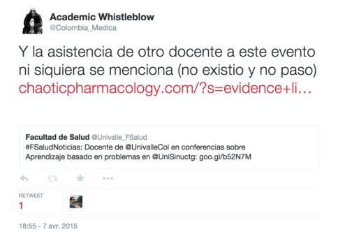 Academic Whistleblow sur Twitter    Y la asistencia de otro docente a este evento ni siquiera se menciona  no existio y no paso  http   t.co Nygm6gLCAI https   t.co SWK2hTLZK5
