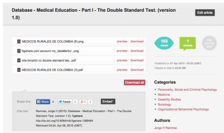 Database - Medical Education - Part I - The Double Standard Test.  version 1.0  (5)