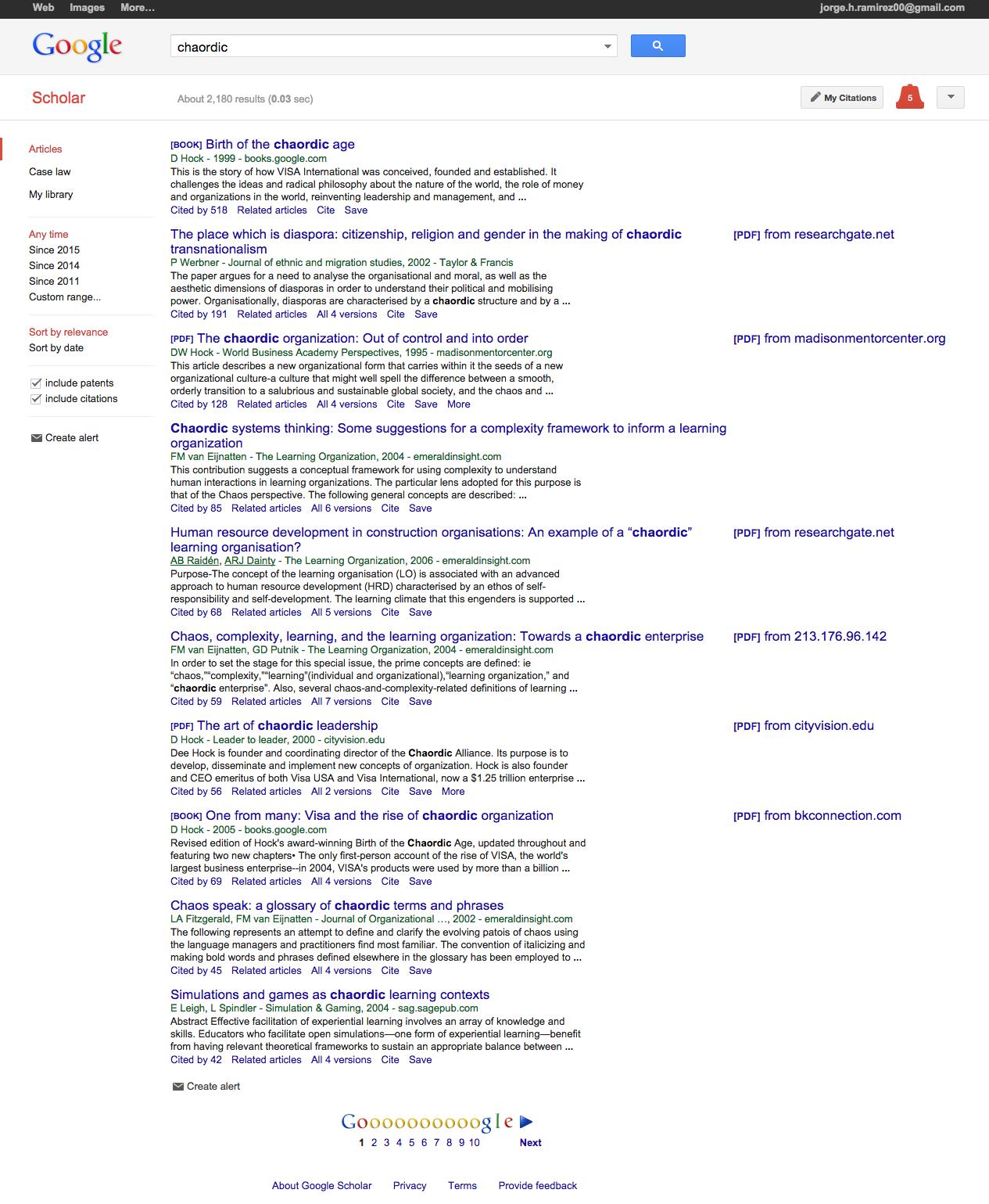 chaordic   Google Scholar