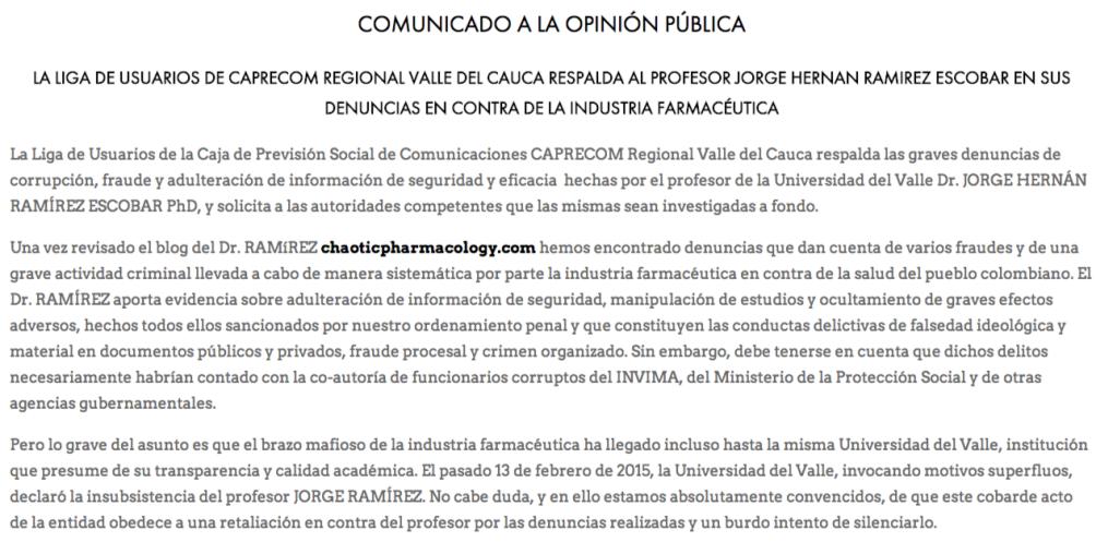 La liga de usuarios de Caprecom regional Valle del Cauca respalda al profesor Jorge H. Ramírez en sus denuncias en contra de la industria farmacéutica   Chaos Theory and Pharmacology