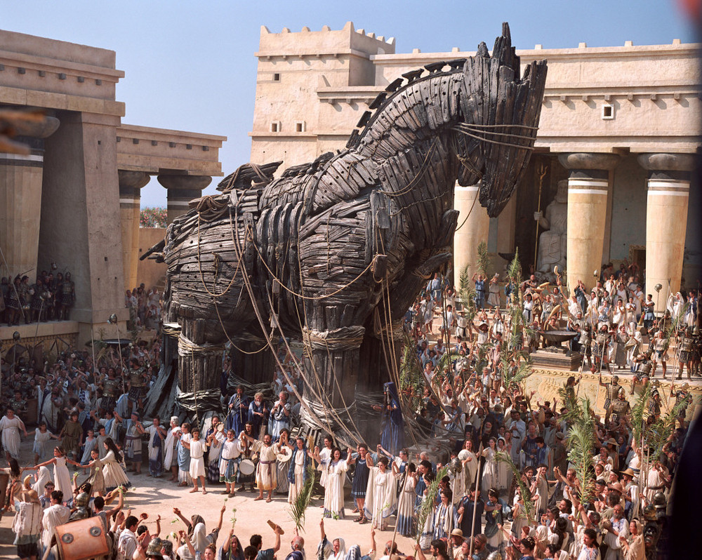 The Trojan Horse stands inside the city of Troy in Warner Bros. Pictures' epic action adventure