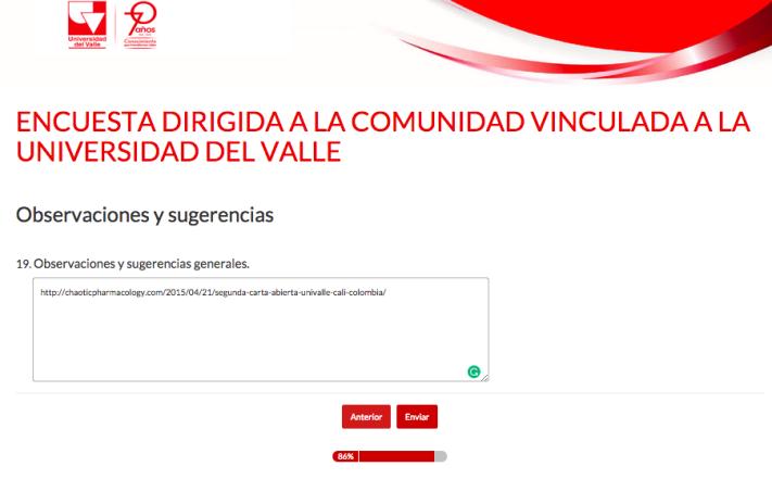 7ENCUESTA DIRIGIDA A LA COMUNIDAD VINCULADA A LA UNIVERSIDAD DEL VALLE