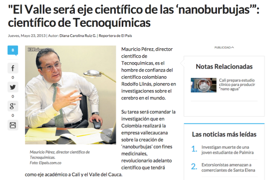 """El Valle será eje científico de las 'nanoburbujas'"""" científico de Tecnoquímicas El País Noticias de Cali Valle y Colombia"""