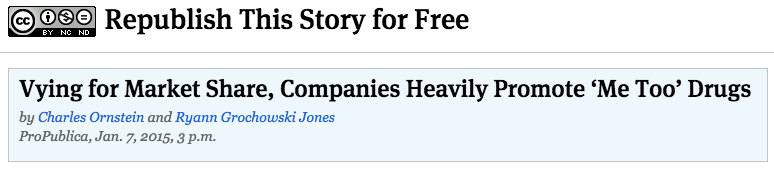 """ProPublica: """"Vying for Market Share, Companies Heavily Promote 'Me Too'Drugs"""""""