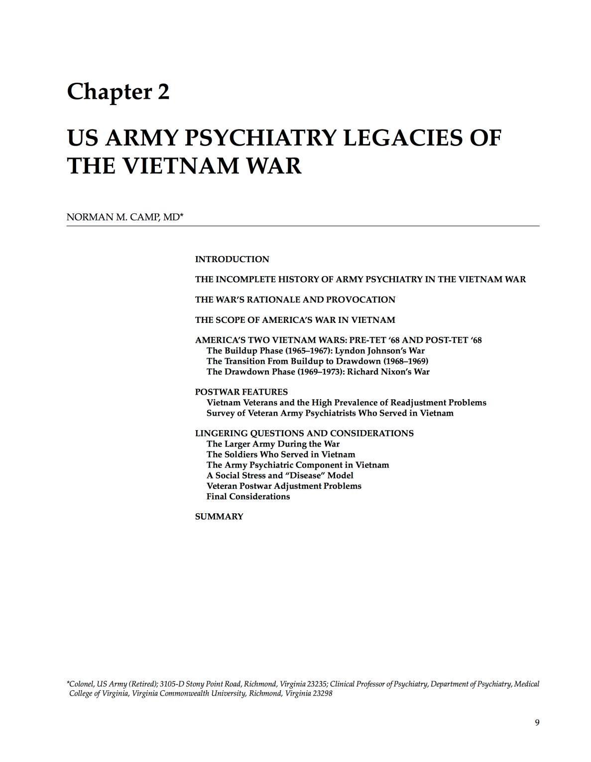 US Army Psychiatry Legacies - Vietnam War