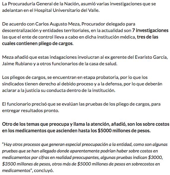 """""""Pliego de cargos contra exgerente y funcionarios del HUV"""" –@RCN980Cali"""