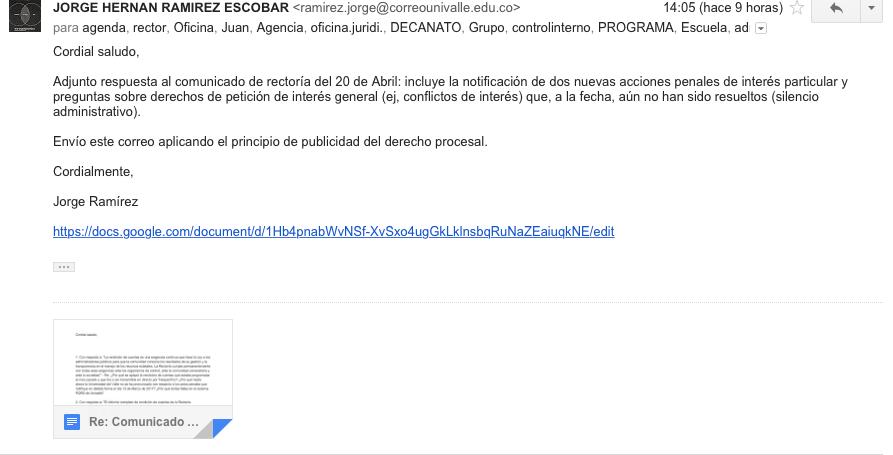 Re: Comunicado de Rectoría (Abril 21, 2017) Universidad del Valle (Cali, Colombia): Rendición deCuentas